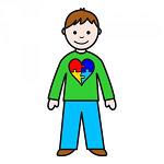 bambino con cuore a più colori disegnato sulla maglietta