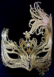 Máscara genuína italiana Veneziana Brumanare Dourada