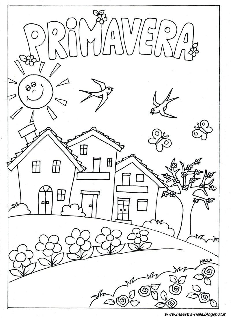 Maestra nella primavera - Immagini di colorare le pagine del libro da colorare ...