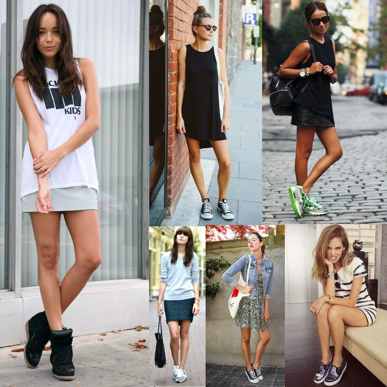 Imagenes de vestidos cortos con zapatos deportivos