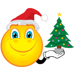 émoticône de Noël qui tient un sapin dans la main