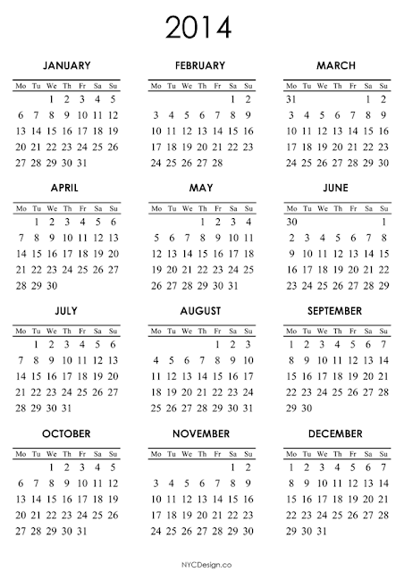 studio new york ny 2014 calendar printable a4 paper size white