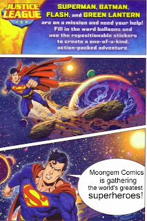 Justice League create a comic birthday card page one