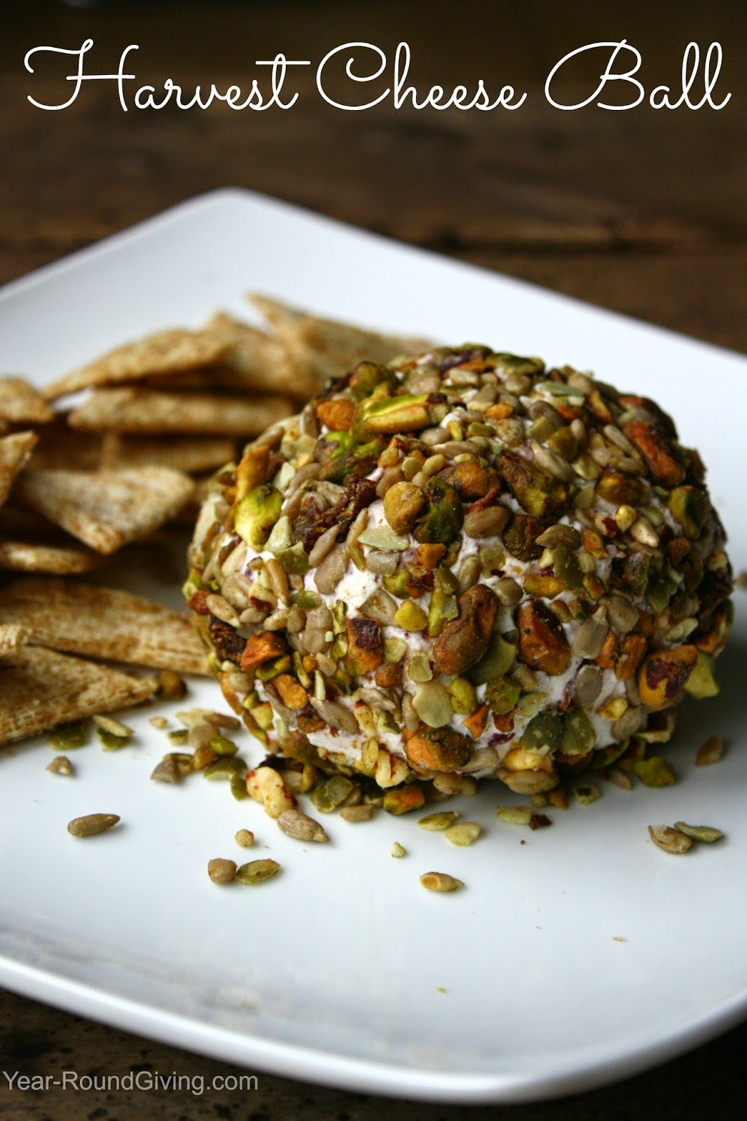 Harvest Cheese Ball - made with goat cheese and craisins inside.