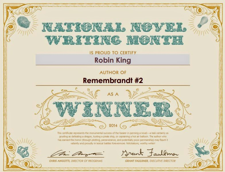 Certificate for winning NaNoWriMo