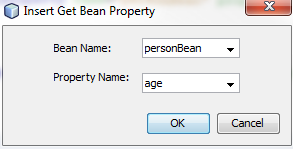 Window showing the settings for creating a Get Bean Property