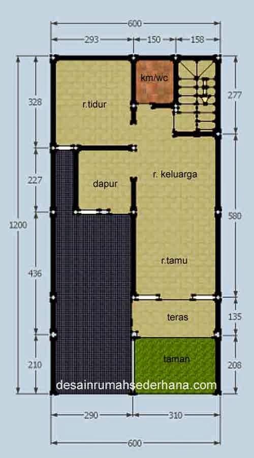 Rumah 2 Lantai 3 Kamar Tidur - Denah 01