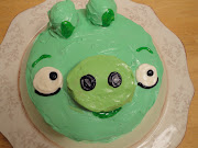 We ate Angry Birds pig cake.
