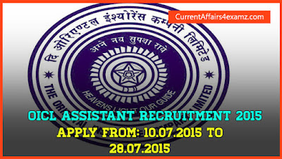 OICL Assistant Recruitment 2015