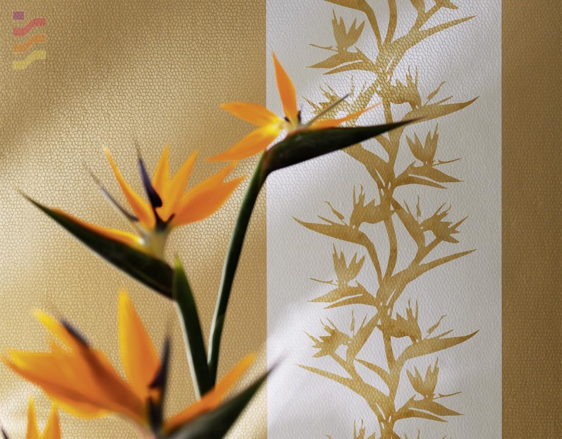 tapeta w kwiaty w odcieniu złota