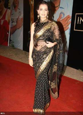 Dia Mirza in Designer saree blouse