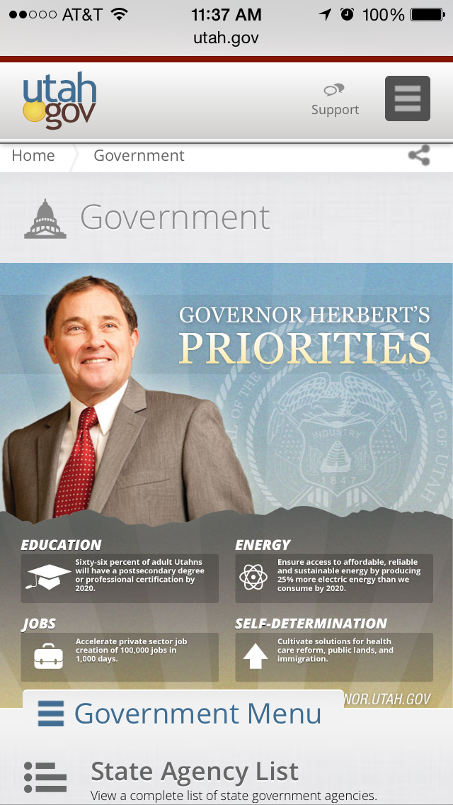 Utah.gov design on a smart phone