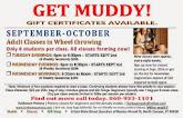Register NOW for Septemebr-October Classes