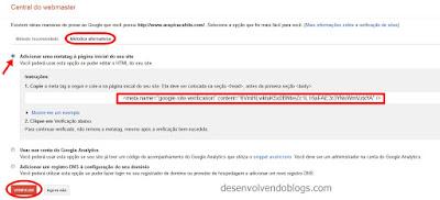 copiando meta tag oferecido pela ferramentas para webmasters