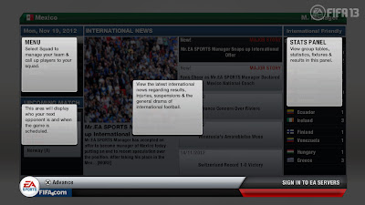 FIFA 13 Career Mode - International Menu Tutorial