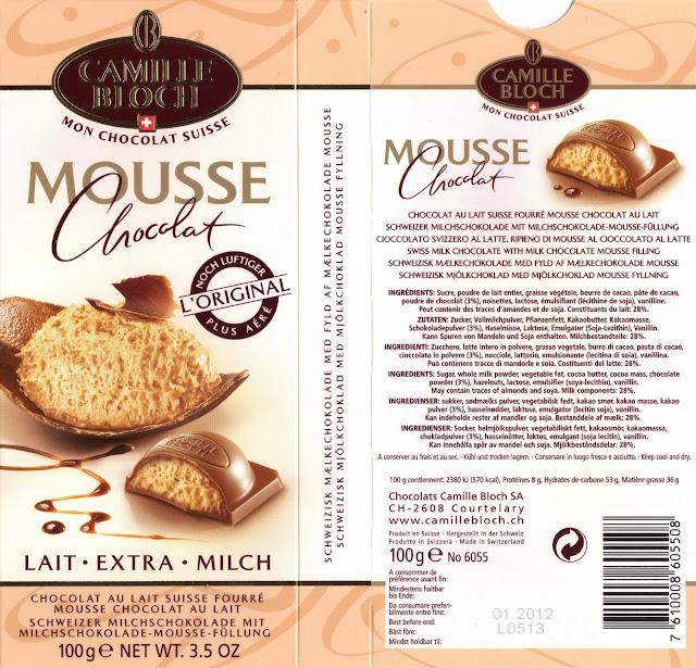 tablette de chocolat lait fourré camille bloch lait mousse chocolat lait
