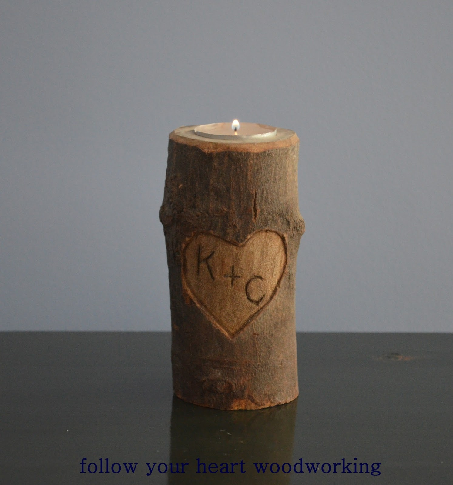 follow your heart woodworking log candle holder
