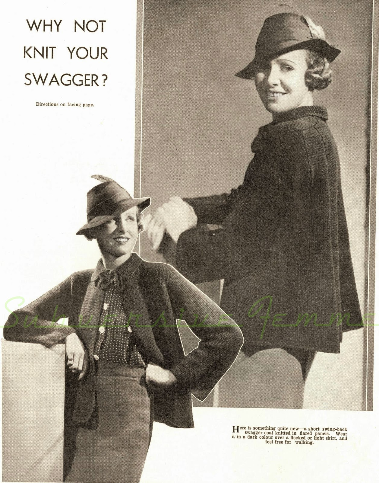 free knitting pattern 1930s swagger coat swing knitted 30s 1940s war era feather hat blouse polka dots smart 34 36
