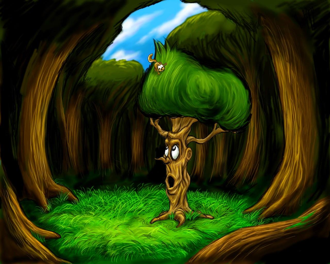 3D Cartoon Tree In Forest Wallpaper Wallpaper HD Desain