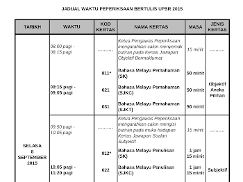 JADUAL PEPERIKSAAN UPSR 2015