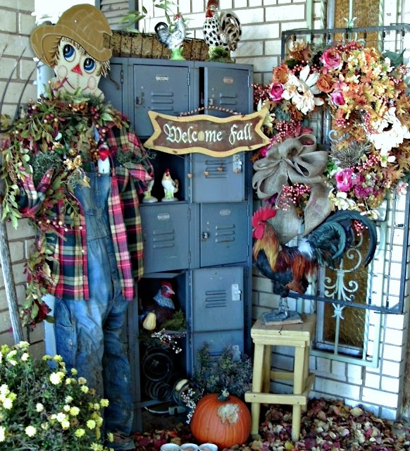 fall porch and fall wreaths