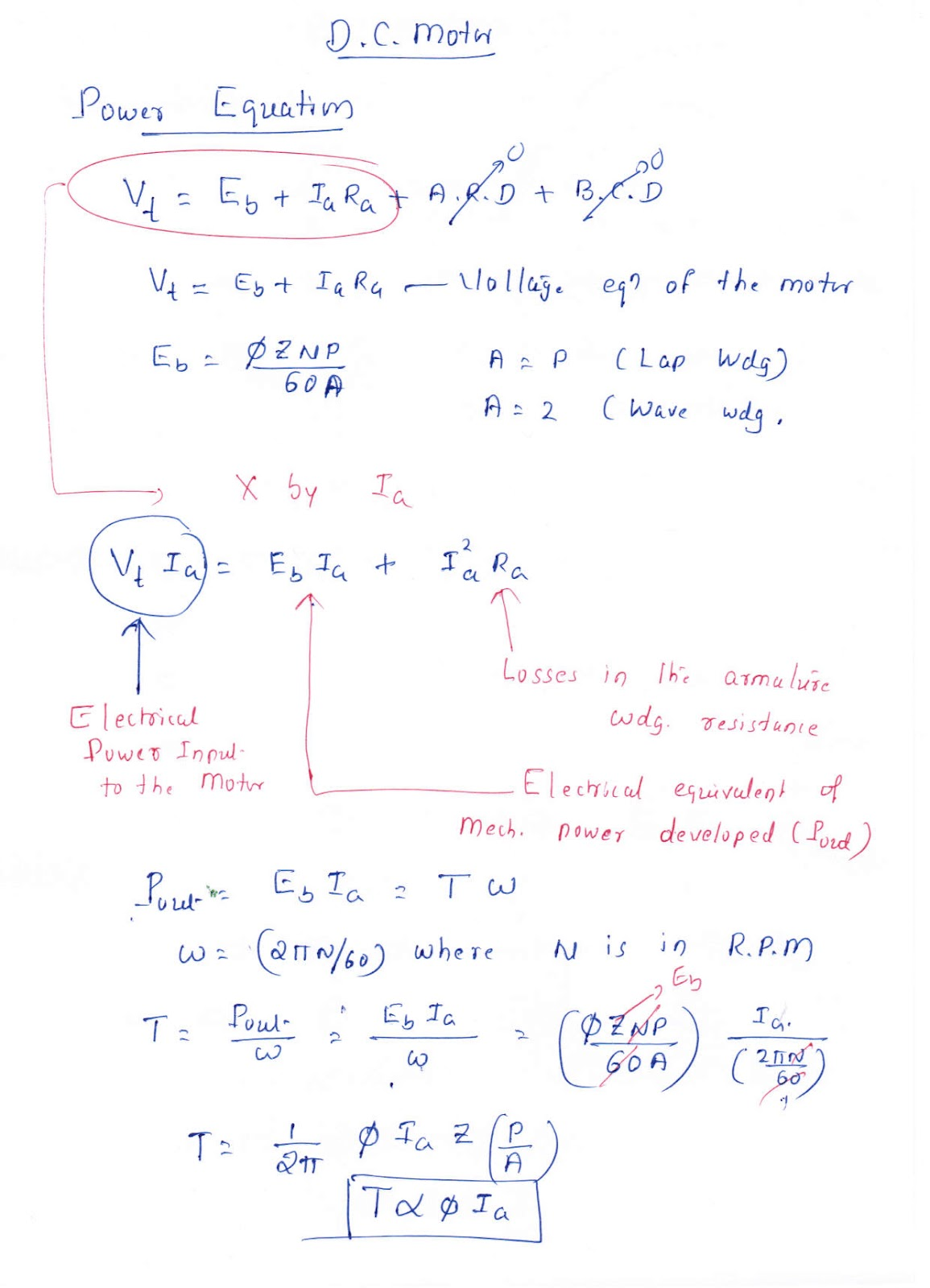 Electrical Circuits Machines Hand Written Notes Dc Motor Electric