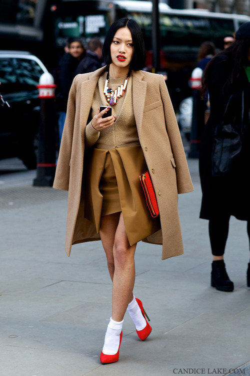 Brown jacket, blouse, skirt, red hand bag and red high heels for fall