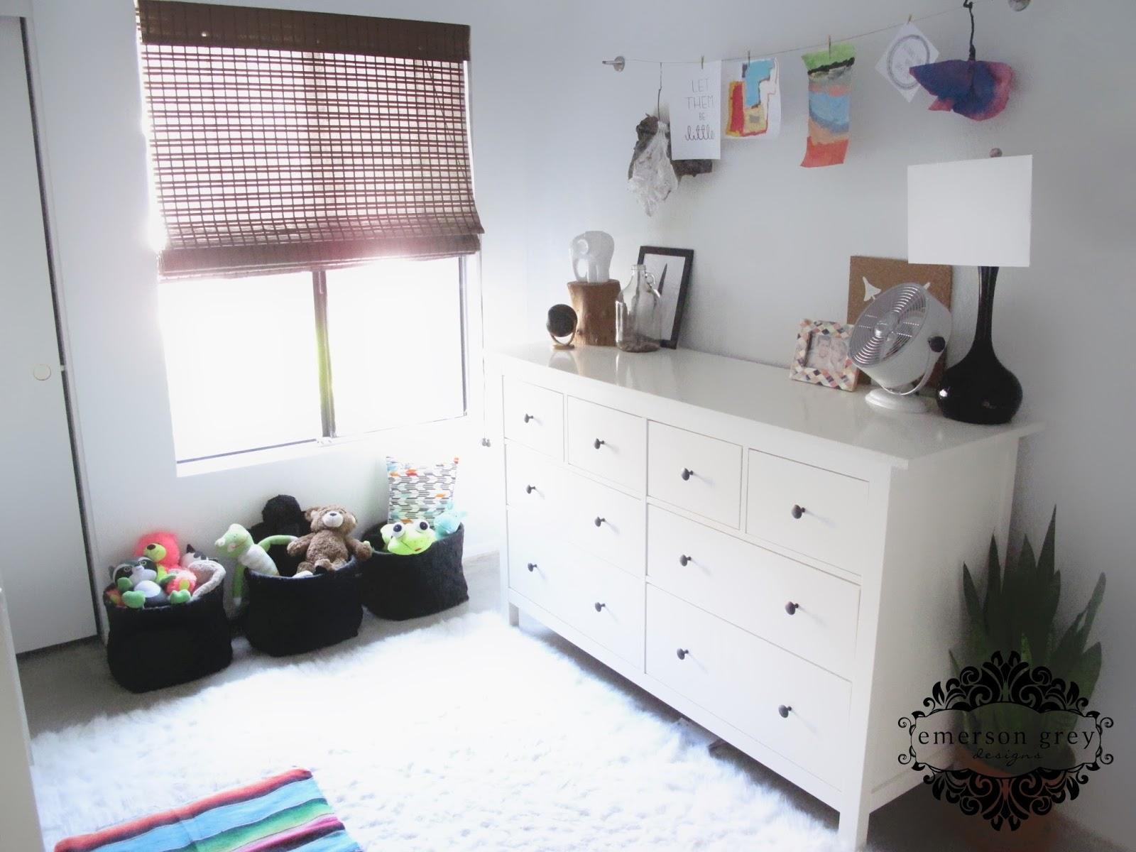My kids shared room reveal black and white kids room