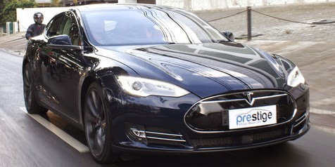 Electric Cars Tesla S Blue Present In Indonesia