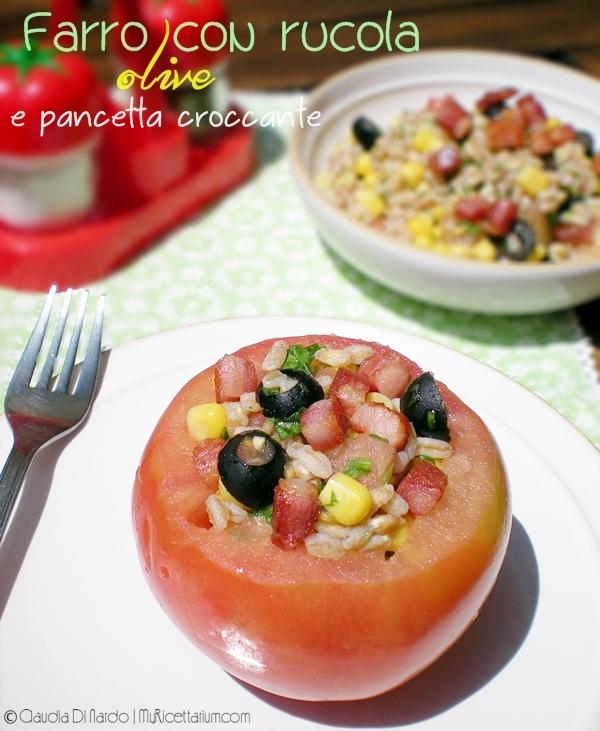 Farro con rucola, olive e pancetta croccante