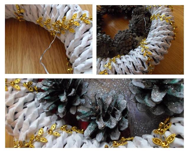 Jak zrobić wianek świąteczny z papierowej wikliny? DIY Jak zrobić ośnieżone szyszki