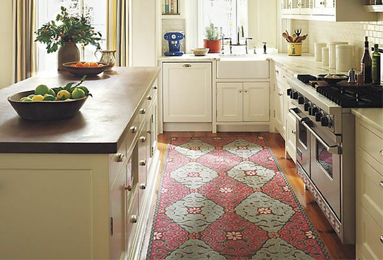 Loft cottage an area rug in the kitchen where do you for Large kitchen area rugs