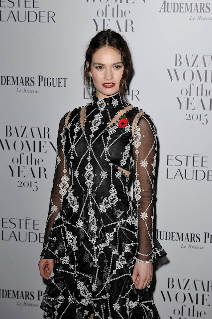 Actress @ Lily James attending 'Harper's Bazaar Women Of The Year Awards'