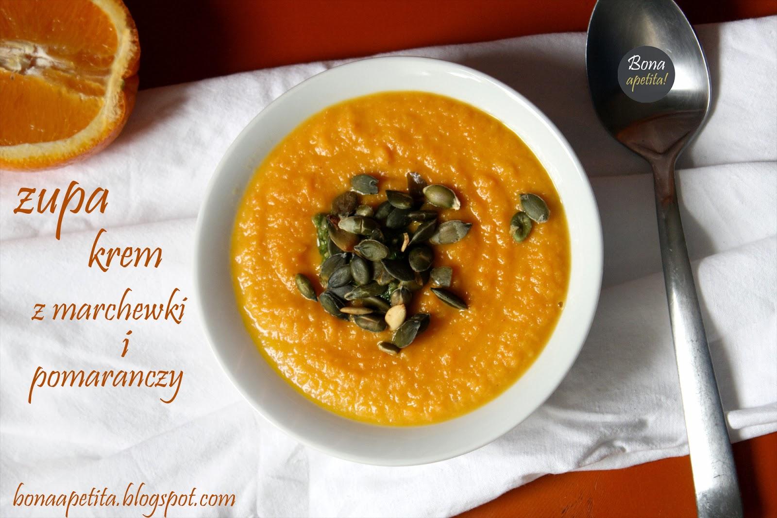 Zupa krem z marchewki z pomarańczami, pesto z pora i pestkami dyni