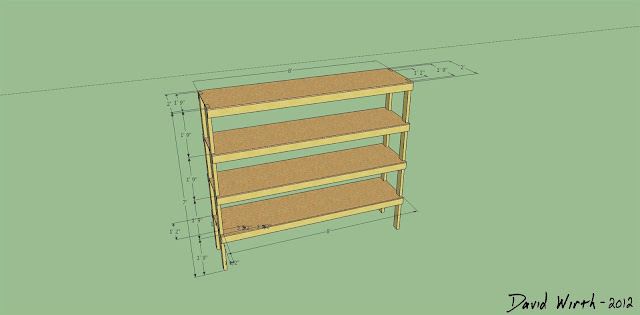 google sketchup wood shelf design, wood shelf dimensions, 2x4 shelf how to