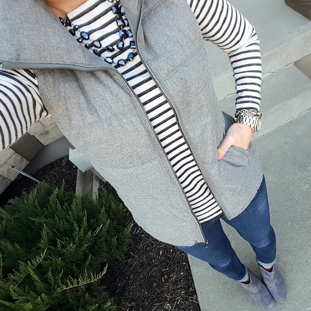 Gap Striped Tee (similar) // Old Navy Fleece Lined Vest // Joe's Jeans - 33% off! // Jessica Simpson Addey Booties (they are 45% off in black - I have these too!) // Michael Kors Runway Watch // Saks Off Fifth Link Bracelet - only $10, regular $25!