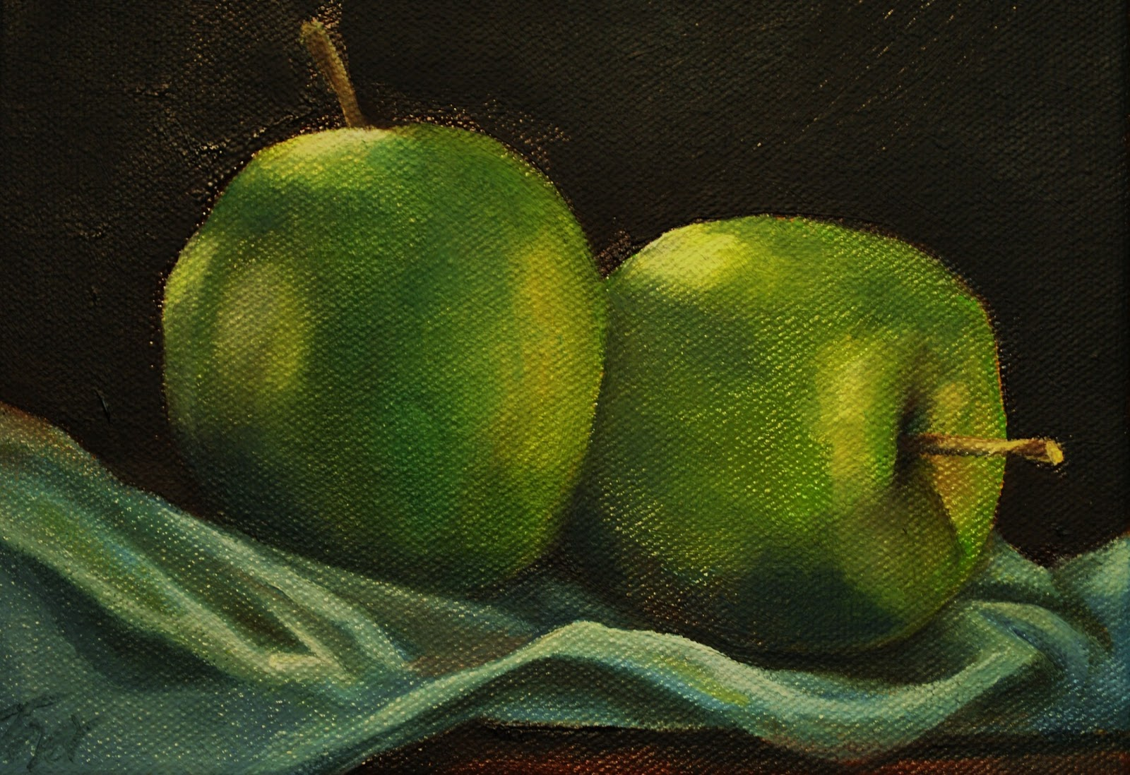 Green Apple Oil Painting