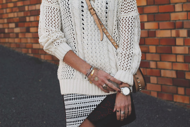 jewelry, stella and bow, gold layers, topshop, wrap skirt, tobruckave, fall, skirt, sweater