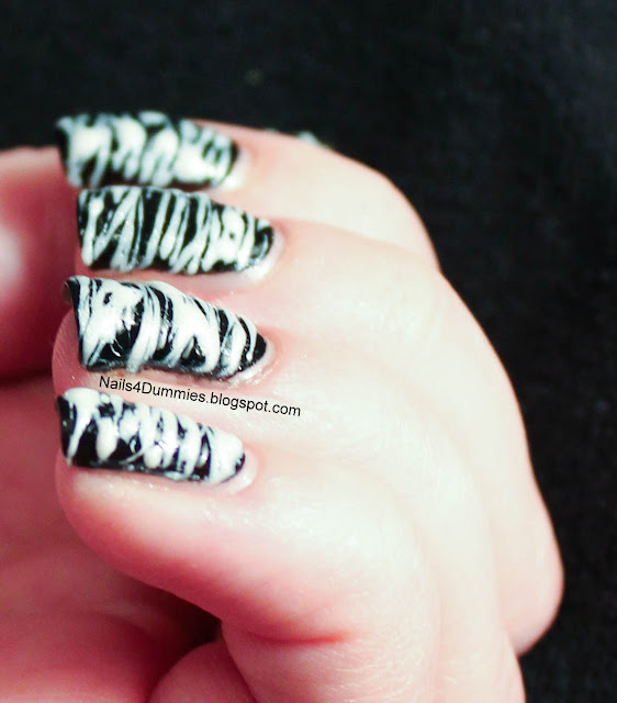 Black and White Sugarspun Nails