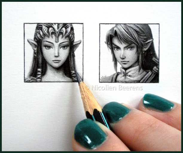 06-The-Legend-of-Zelda-Nintendo-Nicolien-Beerens-Cataclysm-X-Miniature-Celebrity-Portraits-Drawing-www-designstack-co
