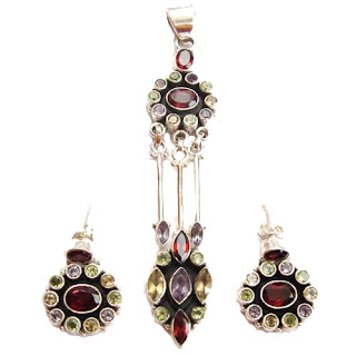 Traditional Indian Sterling Silver Gemstone Jewellery