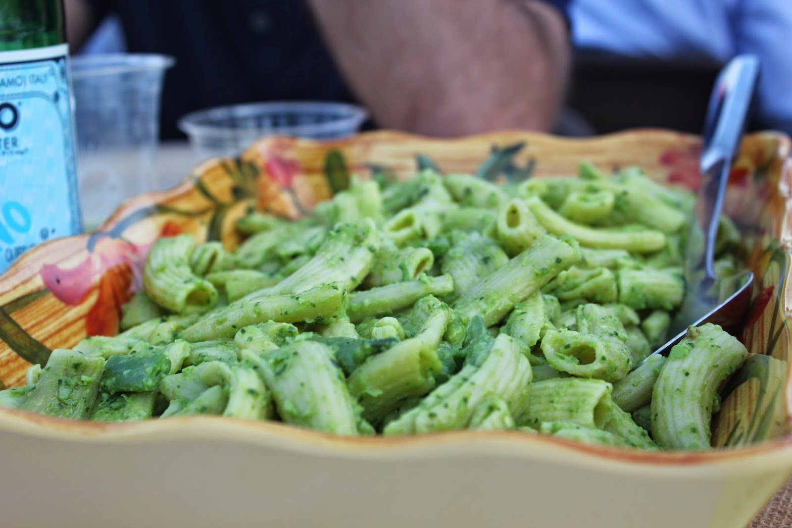 Fresh pasta with English pea and garlic scape pesto at Dinner in the Field at Volante Farms, Needham, Mass.