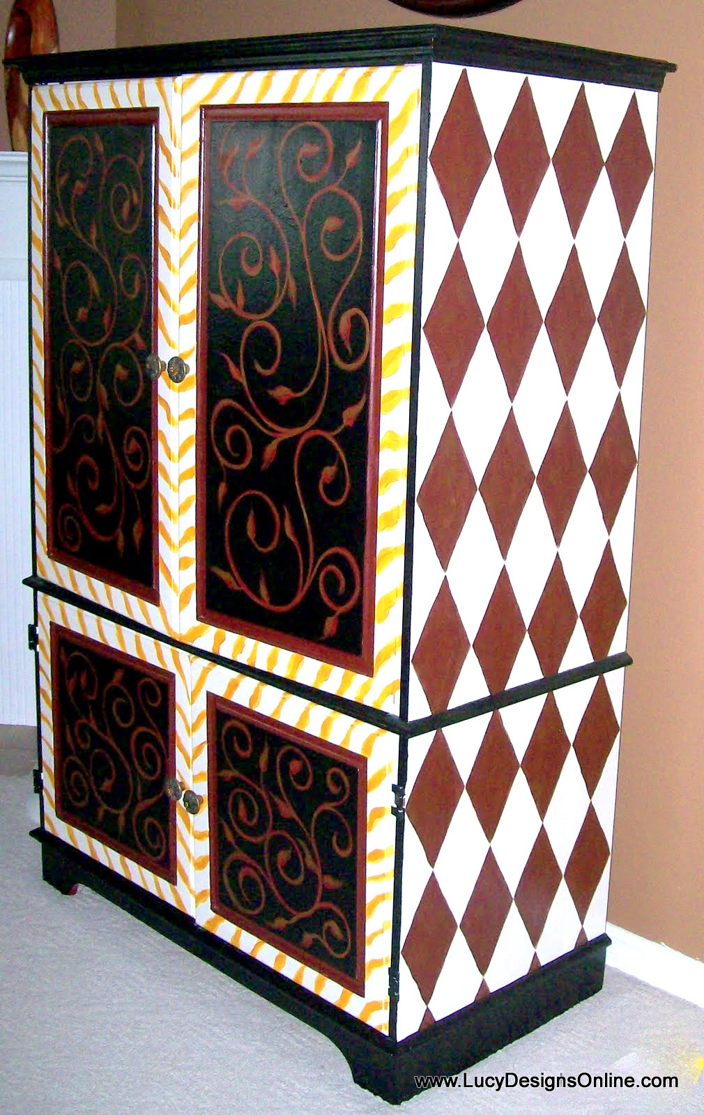 hand painted zebra and diamond pattern armoire