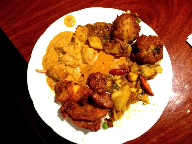 Lamb Vindaloo, Fried Potatoes, Aloo Gobi, Fish Tandoori, Tofu Veggie Curry