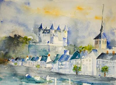 watercolor Saumur castle