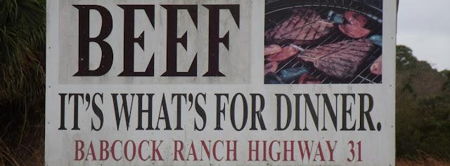 Cartel anunciando las ganaderías en el Babcock Ranch