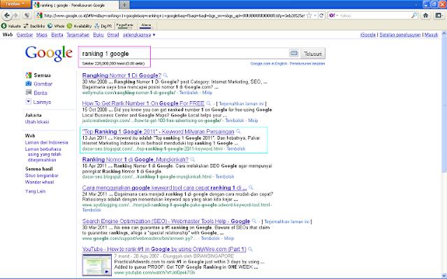 Hasil Posting Top Ranking 1 Google 2011 Setelah 96 Jam di Google Indonesia - Ranking 1 Google