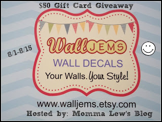 Wall Jems $50 GC Blogger Up, Giveaway Runs 8/1-8/15