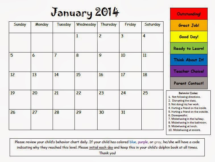 Kindergarten Behavior Calendar : Mrs bumgardner s kindergarten january behavior calendar