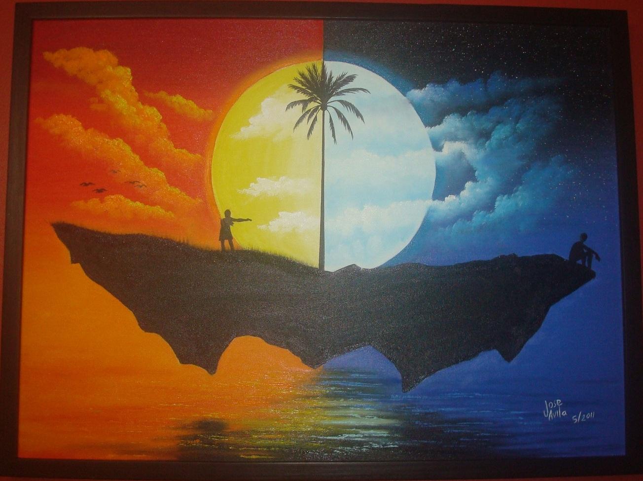 "Sol y Luna"". Oleo sobre tela. Dim: 60 x 80 cms. Valor: US$ 200"